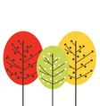 Cute beautiful colorful trees isolated on white vector image vector image