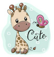 cute cartoon giraffe and butterflies vector image vector image