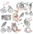 cute collection of hand drawn vintage cute objects vector image