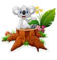 cute koala sit on tree stump vector image vector image