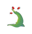 design of adorable green crocodile and vector image