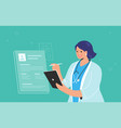 electronic patient profile or online medical vector image
