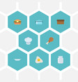 flat icons fast food chef hat loaf and other vector image