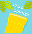 floating yellow air pool water mattress top vector image