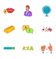 Foreign language icons set cartoon style vector image vector image