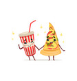 Funny cocktail and slice of pizza characters vector image