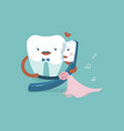 gentleman tooth is dancing with lady toothbrush vector image vector image