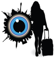 girl with a suitcase and ble eye vector image vector image