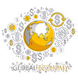 global business concept planet earth with dollar vector image vector image
