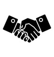 handshake icon black sign on vector image