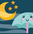 kawaii umbrella moon and stras cartoon vector image vector image