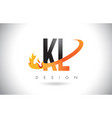 kl k l letter logo with fire flames design and vector image vector image