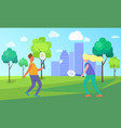 man and woman playing tennis vector image vector image