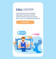 man wear headphones call center service worker vector image vector image