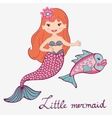 Mermaid and fish vector image