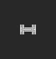 Monogram letter H logo interlacing thin line vector image vector image
