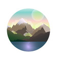 mountains lake forest landscape with sun vector image
