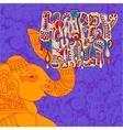 original Happy Holi design with head elephants on vector image
