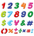 rainbow candy numbers and glossy funny vector image