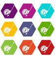roulette construction icon set color hexahedron vector image
