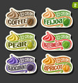 set of fruit ice cream labels vector image vector image