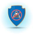 shield with stop hacker simbol vector image vector image