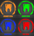 Tooth icon Fashionable modern style In the orange vector image vector image