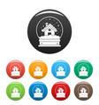 Wood house glass ball icons set color