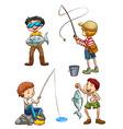 A sketch of men fishing vector image