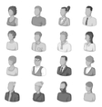 Different people icons set monochrome style vector image