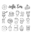 Coffee Hand Drawn Monochrome Elements Set vector image