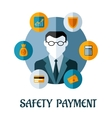Safety Payment flat concept vector image