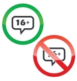 16 plus message permission signs vector image vector image