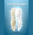 3d realistic tooth cleaning process teeth vector image vector image