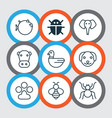 animal icons set with paw bee bug and other vector image vector image
