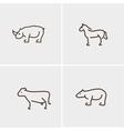 Animals set four cow horn nose horse bear vector image vector image
