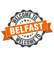 belfast round ribbon seal vector image vector image