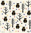 black owl halloween pattern vector image vector image