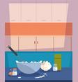 bowl flour eggs salt preparation cooking vector image vector image