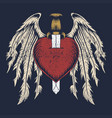 broken heart wing vector image