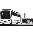 buses arrive and depart at station vector image vector image