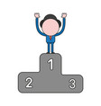 businessman character standing on first place of vector image vector image