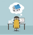 businesswoman dreaming about house vector image vector image