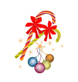 Christmas Balls and Candy Canes with Red Bow vector image
