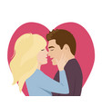 couple in love kissing flat cartoon style vector image