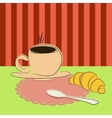 cup of coffee and croissant on the table vector image vector image