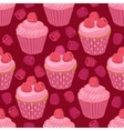 Cupcakes with raspberries seamless pattern vector image