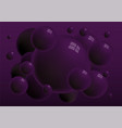 dark violet 3d spheres with reflections background vector image