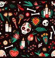 day dead seamless pattern decorated sugar vector image