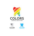 dental colors logo design vector image vector image
